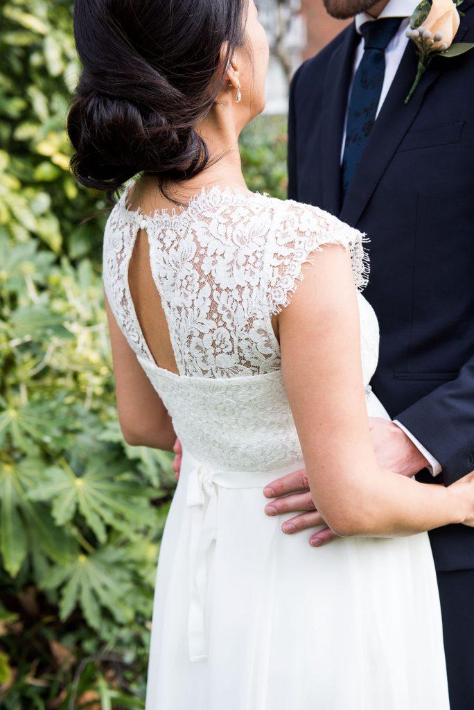 Lace back wedding dress London Wedding