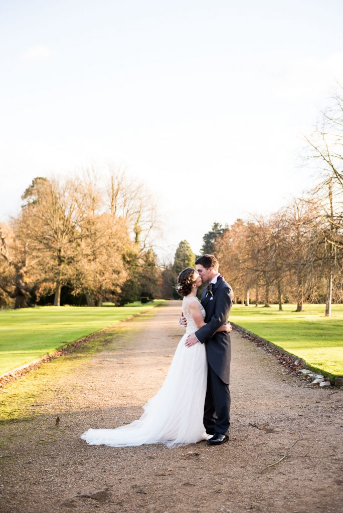 Ashridge House Wedding. Natural Wedding Photography. Natural wedding portrait in soft evening light.