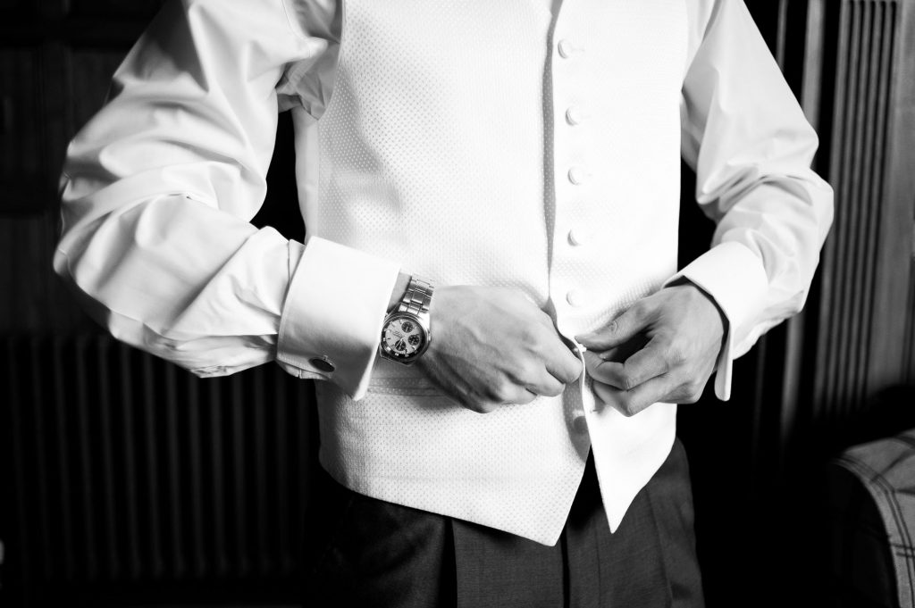 Ashridge House Wedding. Natural Wedding Photography. Documentary Groom preparation photography.