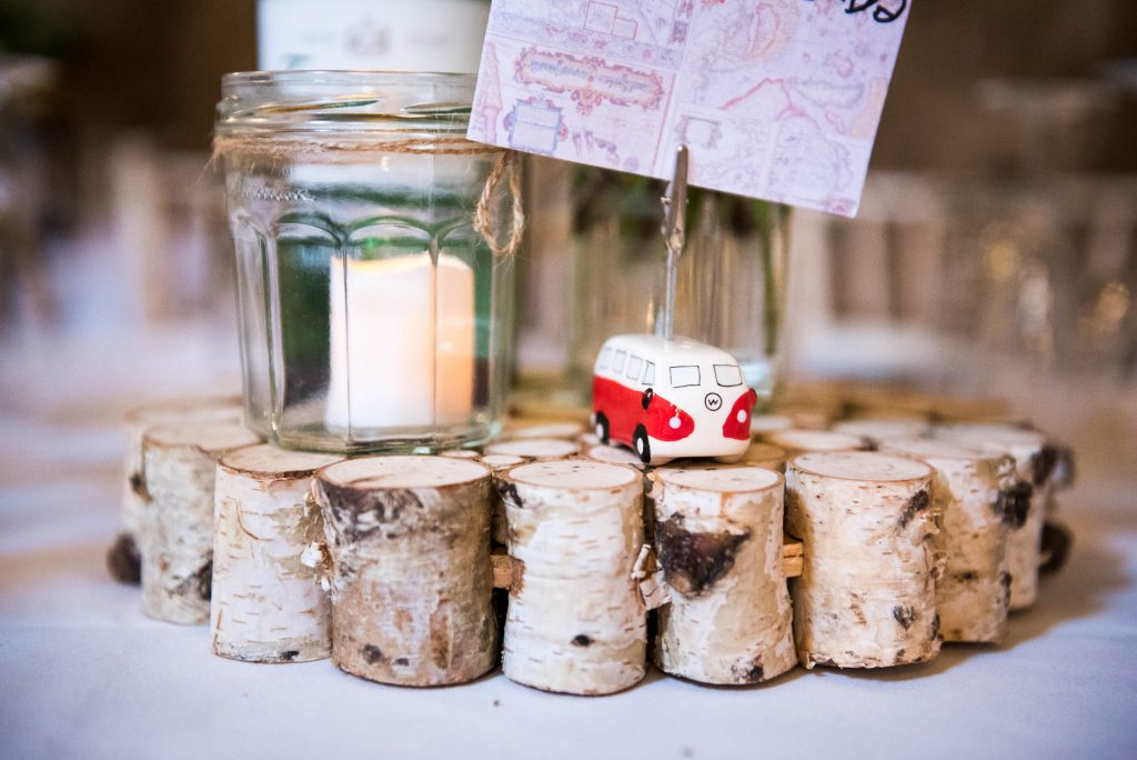Park House Barn, Rustic Barn Wedding, Wedding Table Decor Rustic Wood and VW Camper Van Place Setting