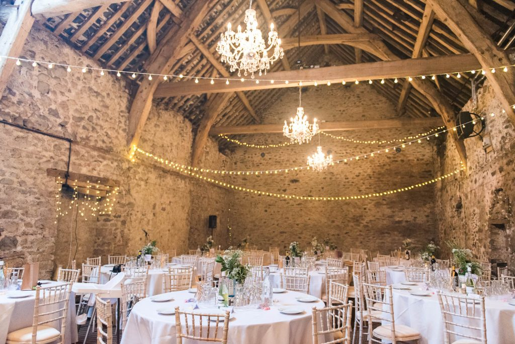 Park House Barn, Rustic Barn Wedding, Main Hall Decorated in Fairy Lights