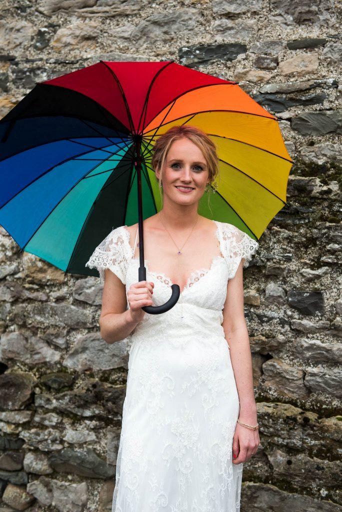 Park House Barn, Rustic Barn Wedding, Anna Campbell Bride with Rainbow Umbrellas