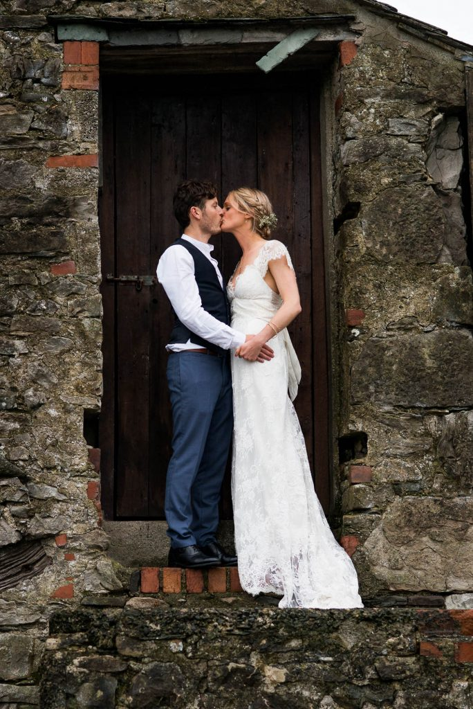 Park House Barn, Rustic Barn Wedding, Anna Campbell Bride with Groom in Rustic Barn Portraits