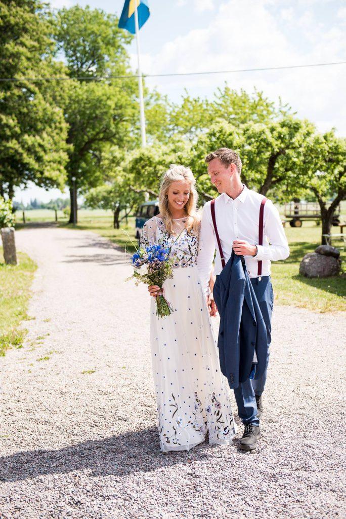 Swedish Wedding - Kroksta Gard Wedding - Bride and Groom Walk to The Ceremony Hand in Hand