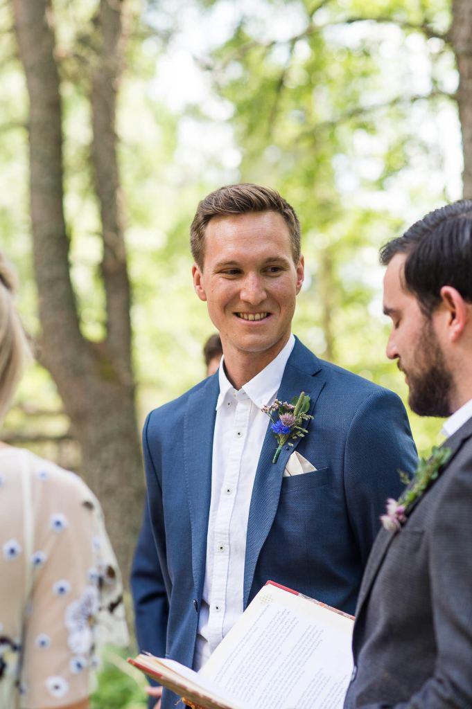 Swedish Wedding - Kroksta Gard Wedding - Groom Reactions During Ceremony