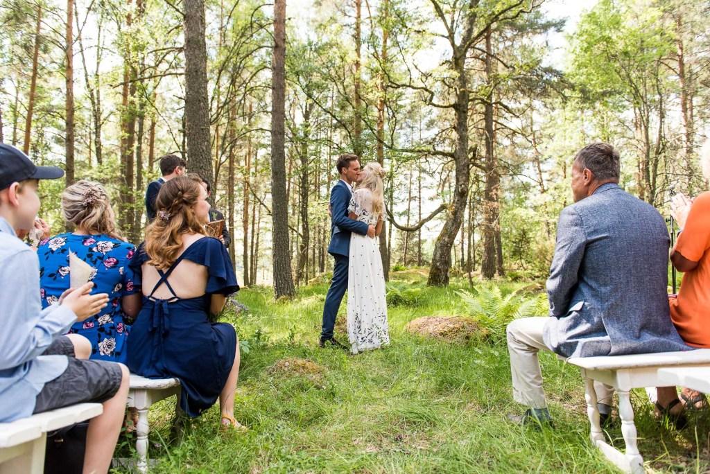 Swedish Wedding - Kroksta Gard Wedding - First Kiss Woodland Wedding Ceremony