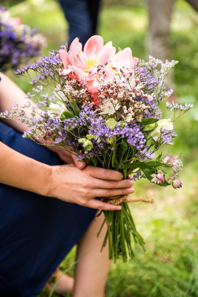 Swedish Wedding - Kroksta Gard Wedding - Natural Wildflower Bridesmaid Bouquet