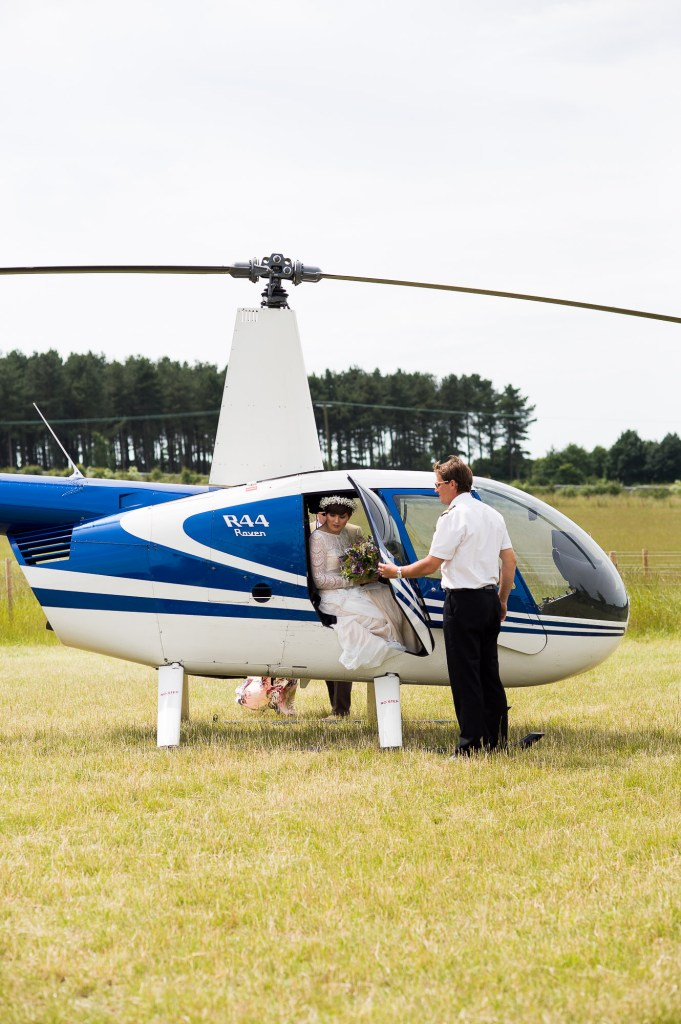 Inkersall Grange Farm Wedding - Same Sex Wedding Photography - Adventurous Bride Arrives In Helicopter