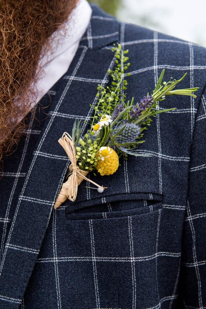 Inkersall Grange Farm Wedding - Same Sex Wedding Photography - Tartan Suit Best Man and Wildflower Button Hole