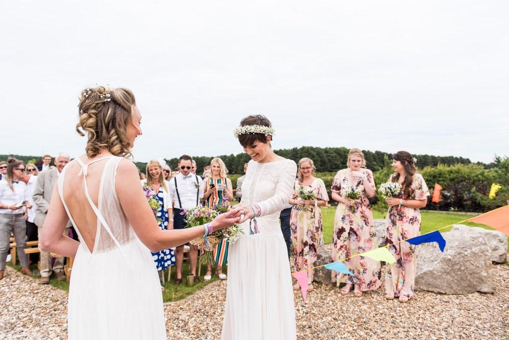 Inkersall Grange Farm Wedding - Same Sex Wedding Photography - Maggie Sotterro Bride Ceremony