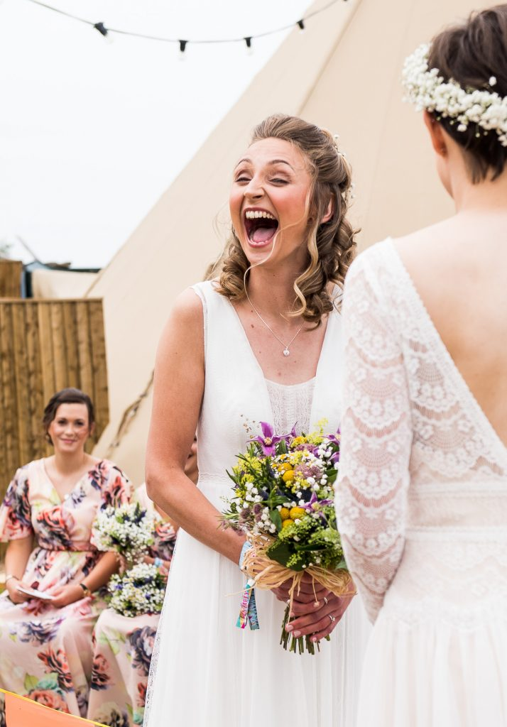 Inkersall Grange Farm Wedding - Same Sex Wedding Photography - Gorgeous Rembo Styling Bride Laughing