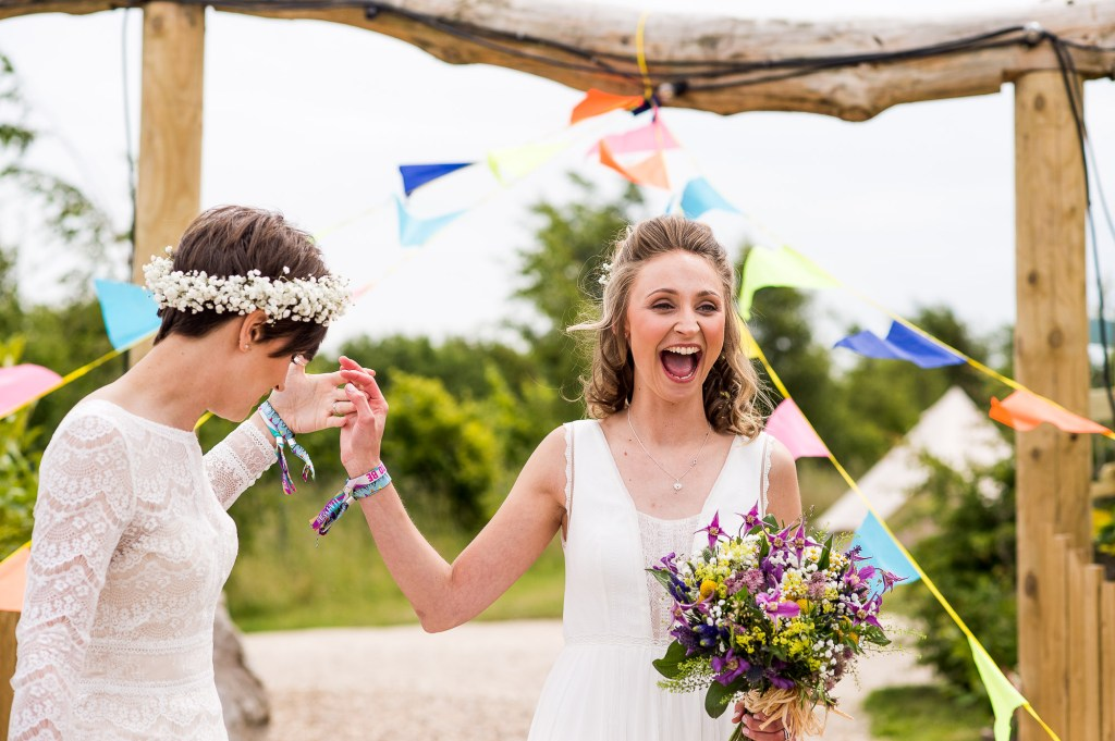 Inkersall Grange Farm Wedding - Same Sex Wedding Photography - Brides at the ceremony