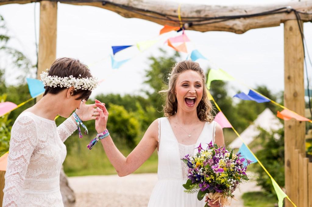 Inkersall Grange Farm Wedding - Same Sex Wedding Photography - Brides at the ceremony