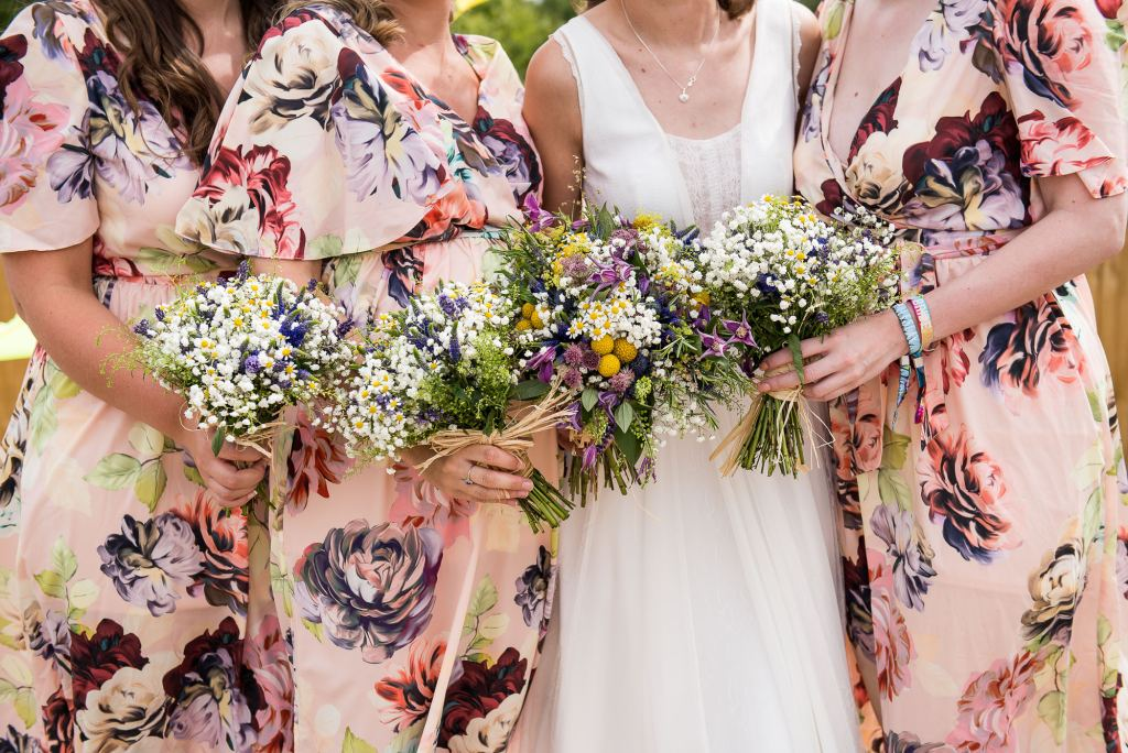 Inkersall Grange Farm Wedding - Same Sex Wedding Photography - Brides with Colourful Bridesmaids and Wildflower Bouquets