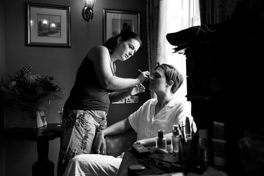 Inkersall Grange Farm Wedding - Same Sex Wedding Photography - Bridal Make Up Preparation Photography