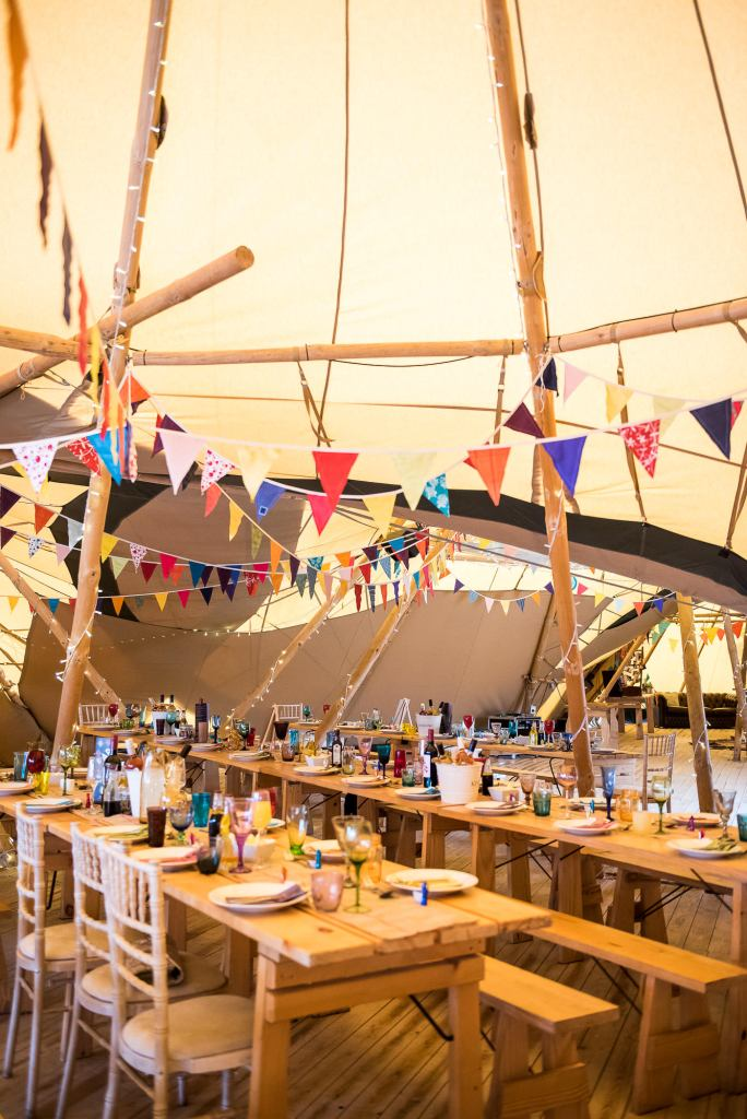 Inkersall Grange Farm Wedding - Same Sex Wedding Photography - Colourful Boho Tipi Decorated Wedding