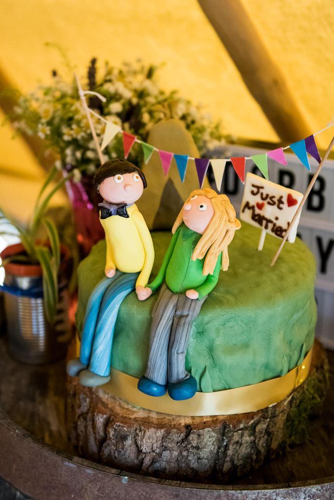 Inkersall Grange Farm Wedding - Same Sex Wedding Photography - Hand Made Cute Wedding Character Cake