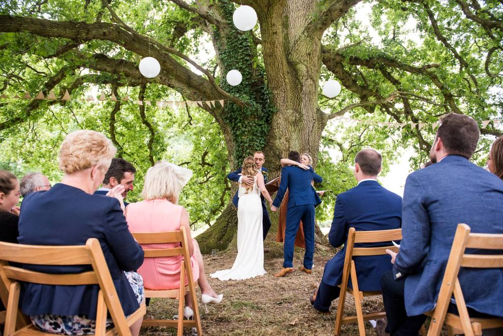 Outdoor Wedding Ceremony, Surrey Wedding Photography, Gorgeous Catherine Deane Bride and Groom in Outdoor Wedding Ceremony