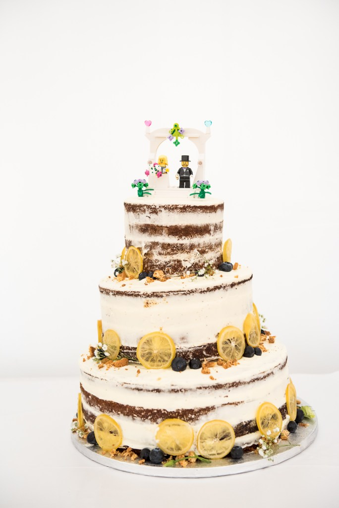 Home Made Wedding Cake With Lego Figuring Cake Topper