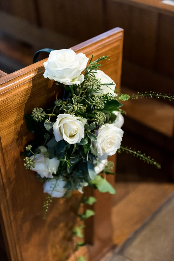 Chobham Church Interior With Gorgeous White Flowers, Surrey Wedding Photography