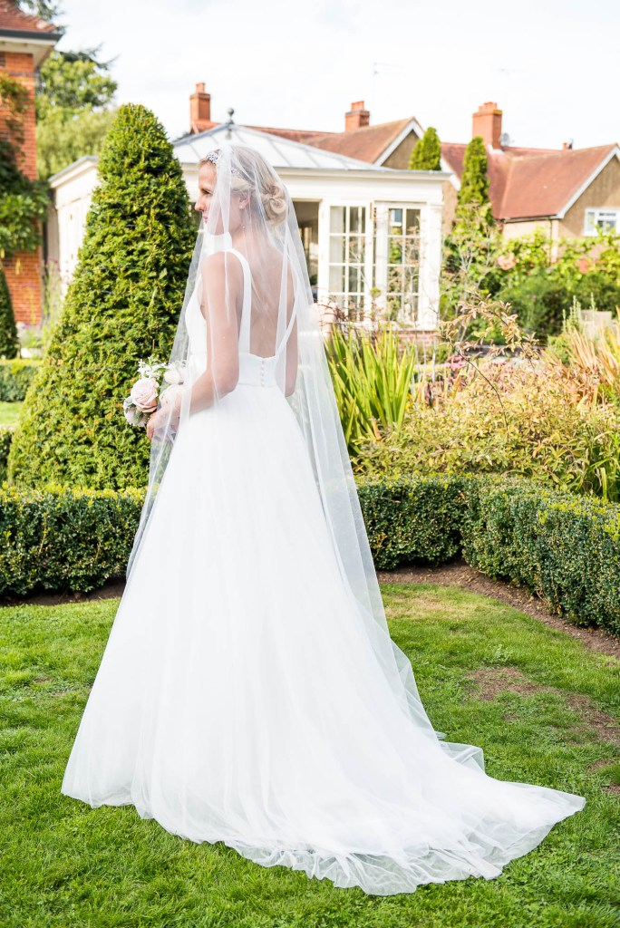 Outdoor Wedding Photography Surrey, Stunning Miss Bush Bride in Jesus Piero With Sheer Veil and Low Strap Back