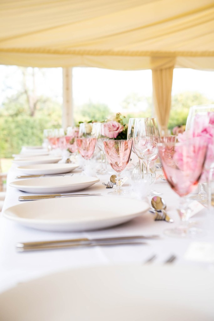 Outdoor Wedding Photography Surrey, Gorgeous Marquee Decorated With White and Pink Flowers