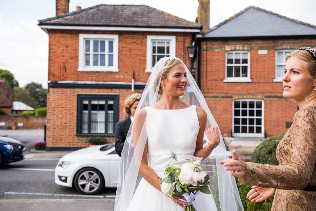 Outdoor Wedding Photography Surrey, The Gorgeous Bride Wearing Jesus Piero With Veil