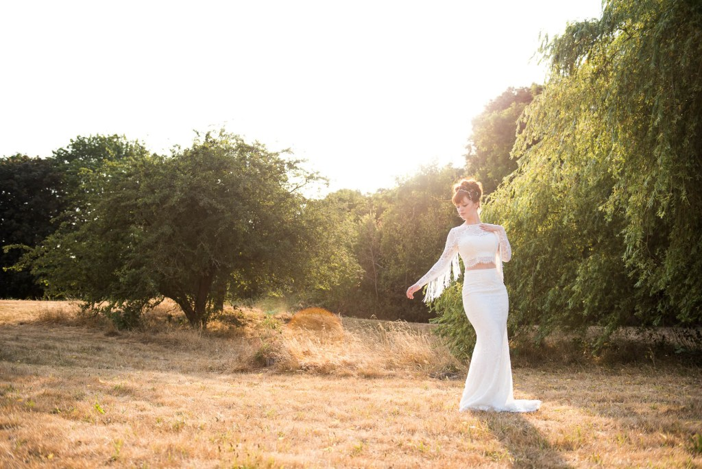 Miss Bush Bridal, Shiokba Brial Dress In Golden Hour Light With Fringe and Lace Detail Sleeves, Surrey Wedding Photography