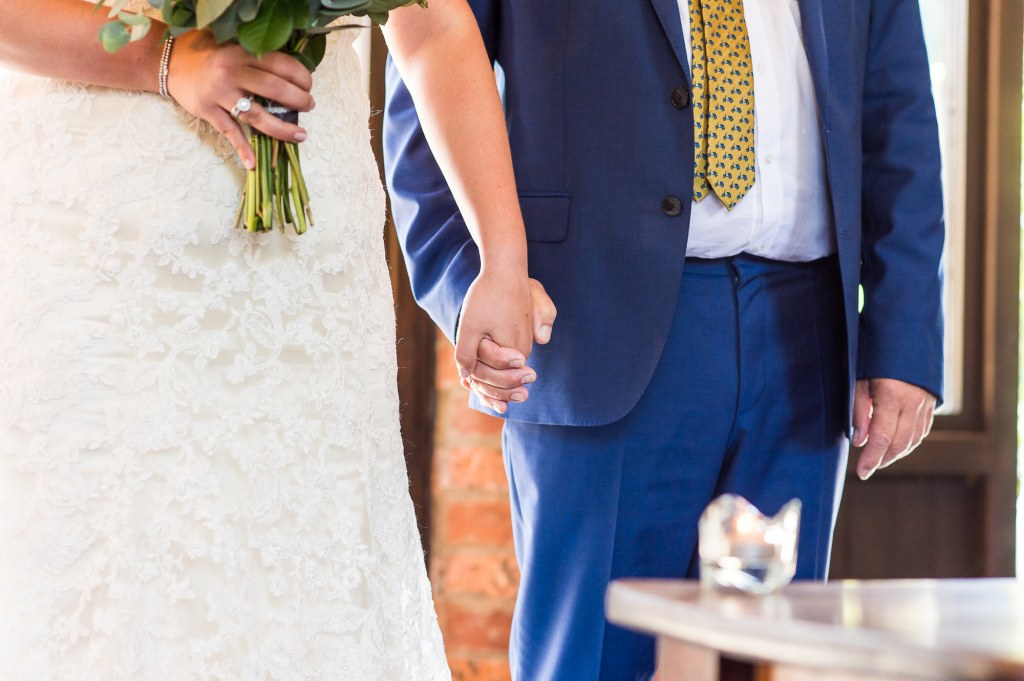 lgbt wedding photographer, Bride holds hand with her father