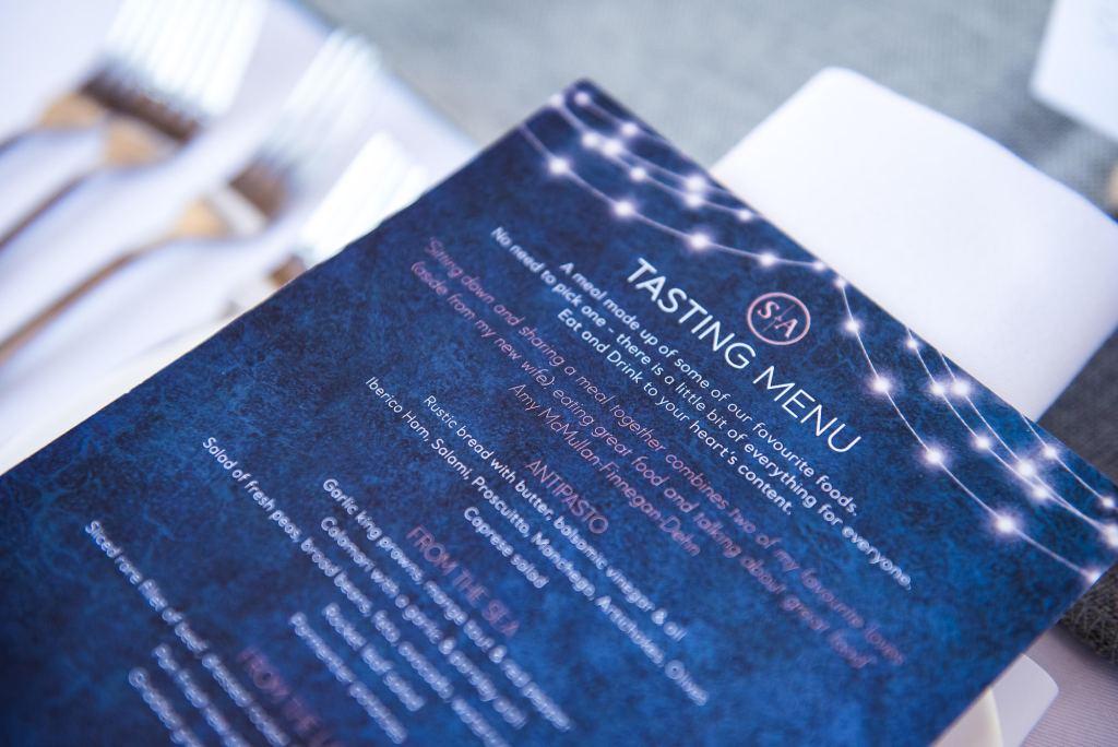 lgbt wedding photographer, stylish wedding menu in gold calligraphy