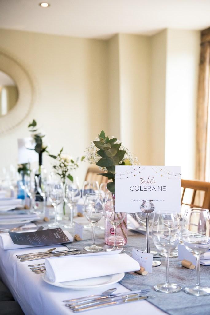lgbt wedding photographer, stylish and modern wedding breakfast table with botanical wedding florals