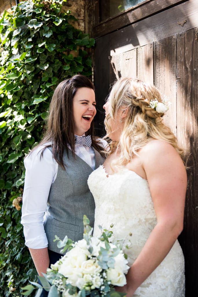 lgbt wedding photographer, candid and natural same sex wedding portrait photography, Dodmoor House Wedding