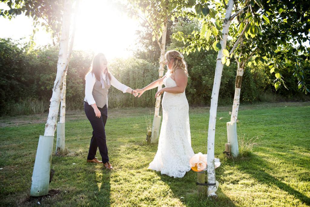lgbt wedding photographer, golden hour wedding portrait at Dodmoor House