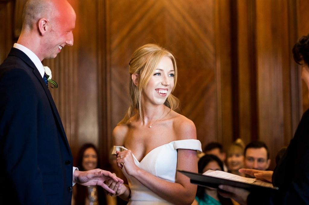 Old Marylebone Town Hall Wedding, wedding ceremony ring exchange