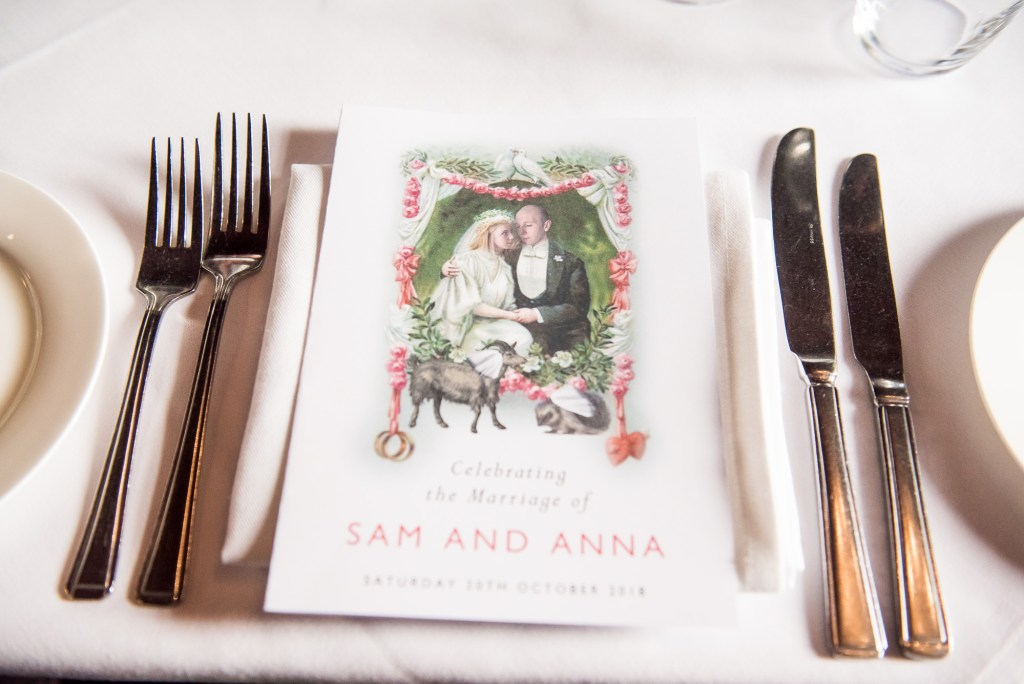 Old Marylebone Town Hall Wedding,  Personalised wedding menu with bespoke illustration