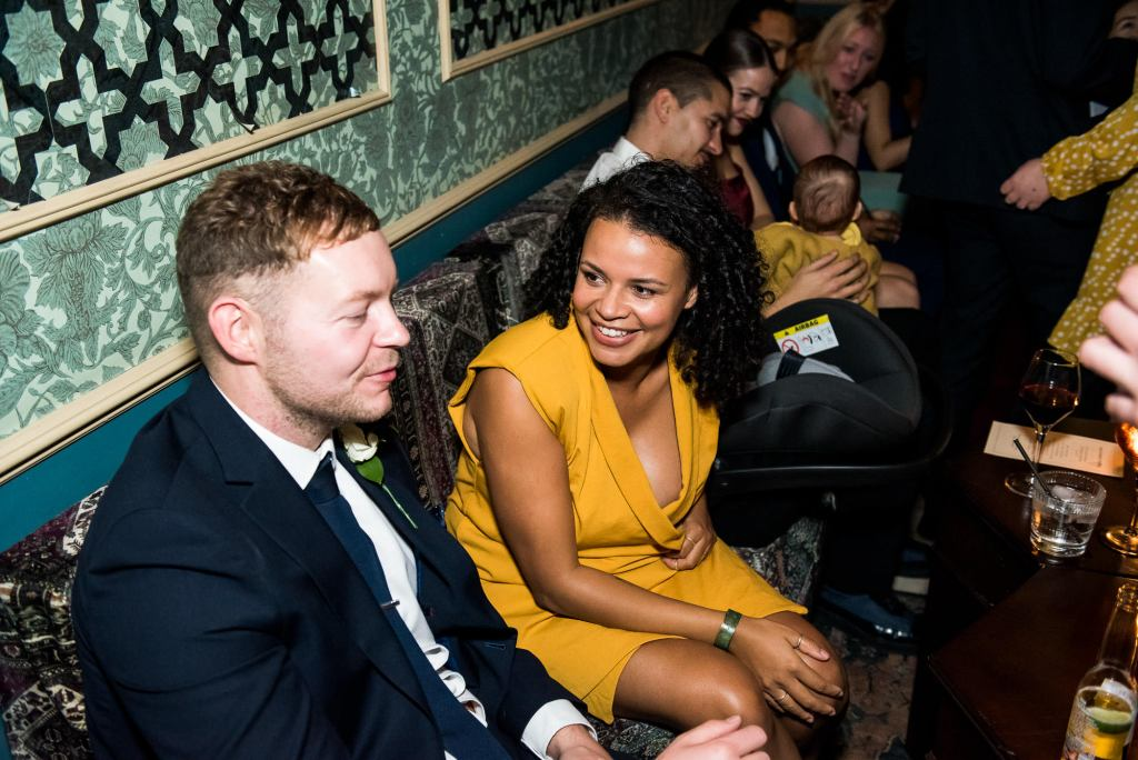 Old Marylebone Town Hall Wedding, candid guest reception photography
