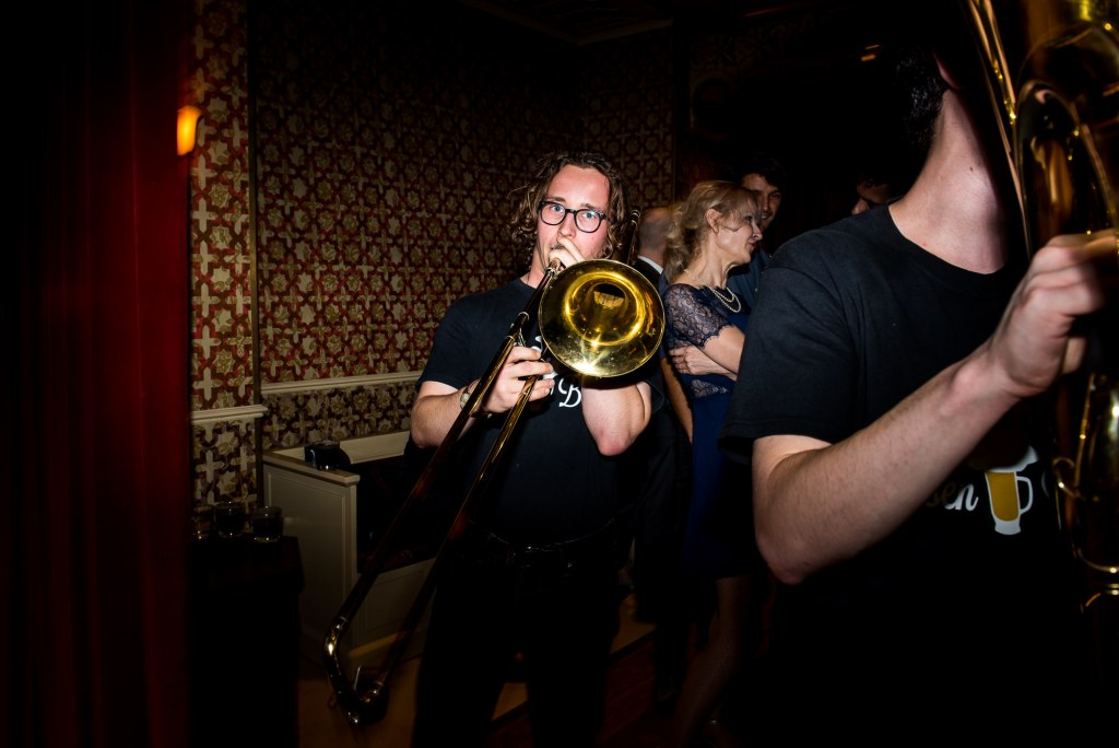 LGBT wedding photography, wedding brass band