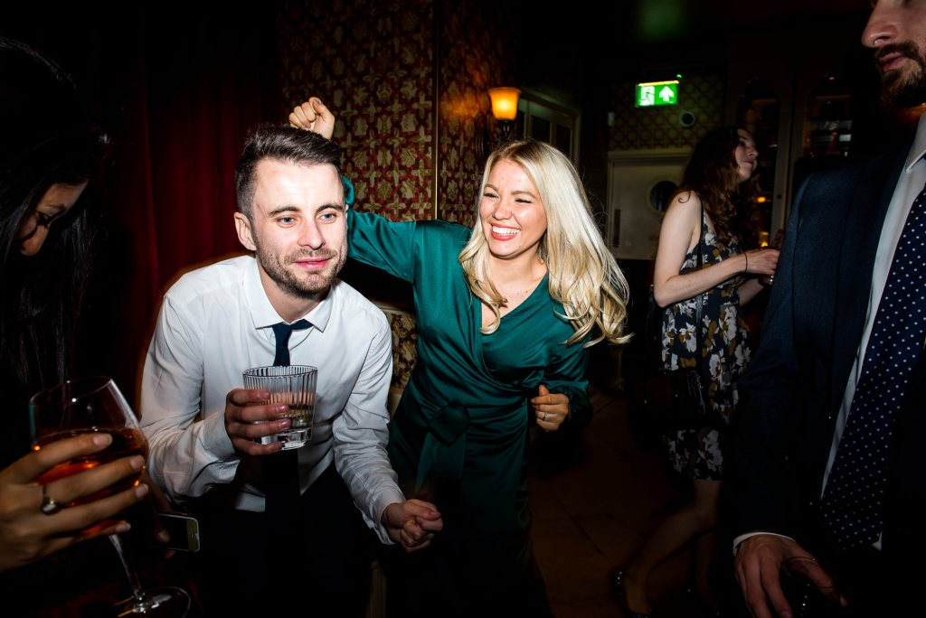 Old Marylebone Town Hall Wedding, fun and animated dance floor photography