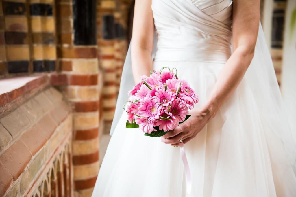 bright pink flower bridal bouquet