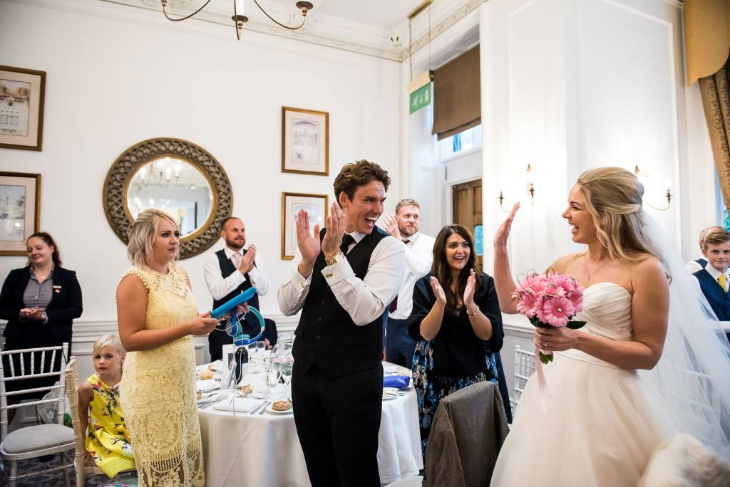Horsley Towers wedding, bride arrives into the wedding breakfast room