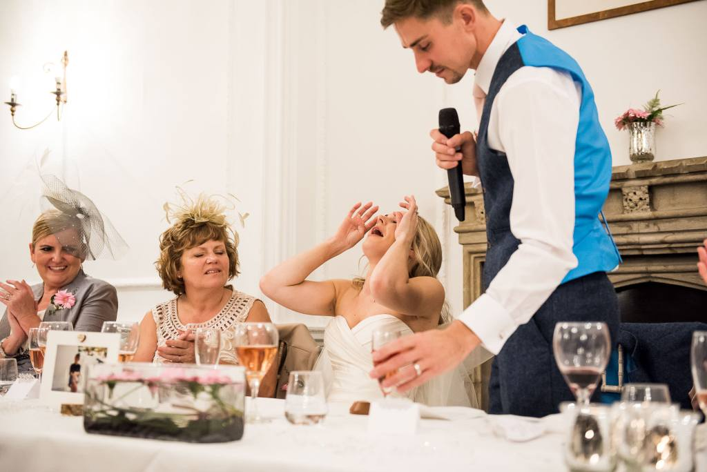 bride tears up during speeches