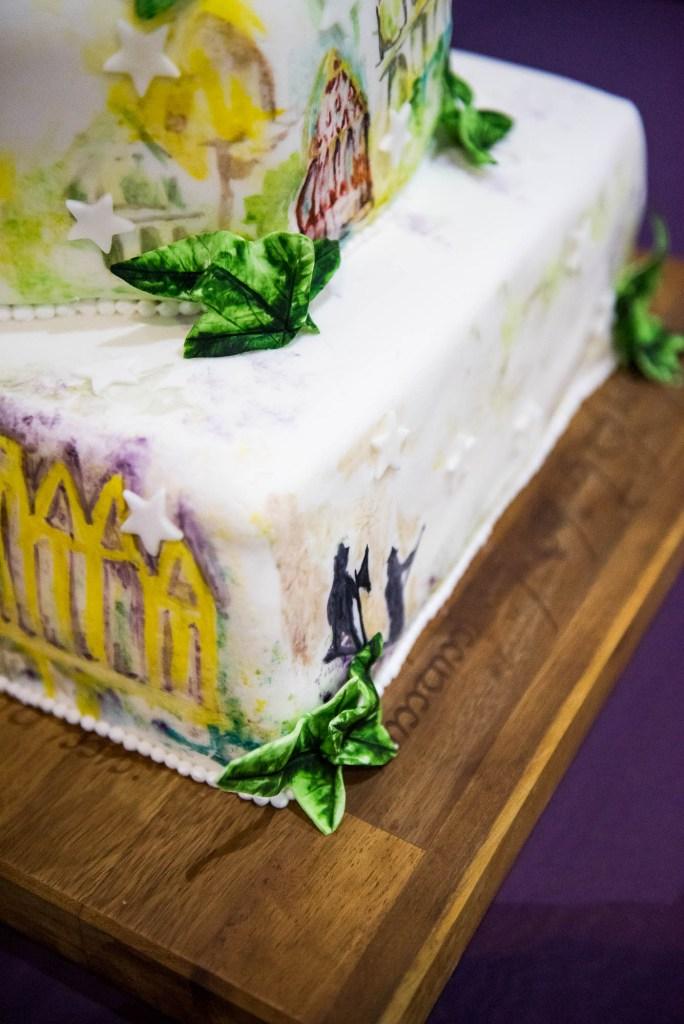 Bespoke wedding cake decorated with decorative sugar flowers