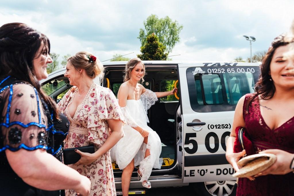 Bride arrives in her Grace Loves Lace dress