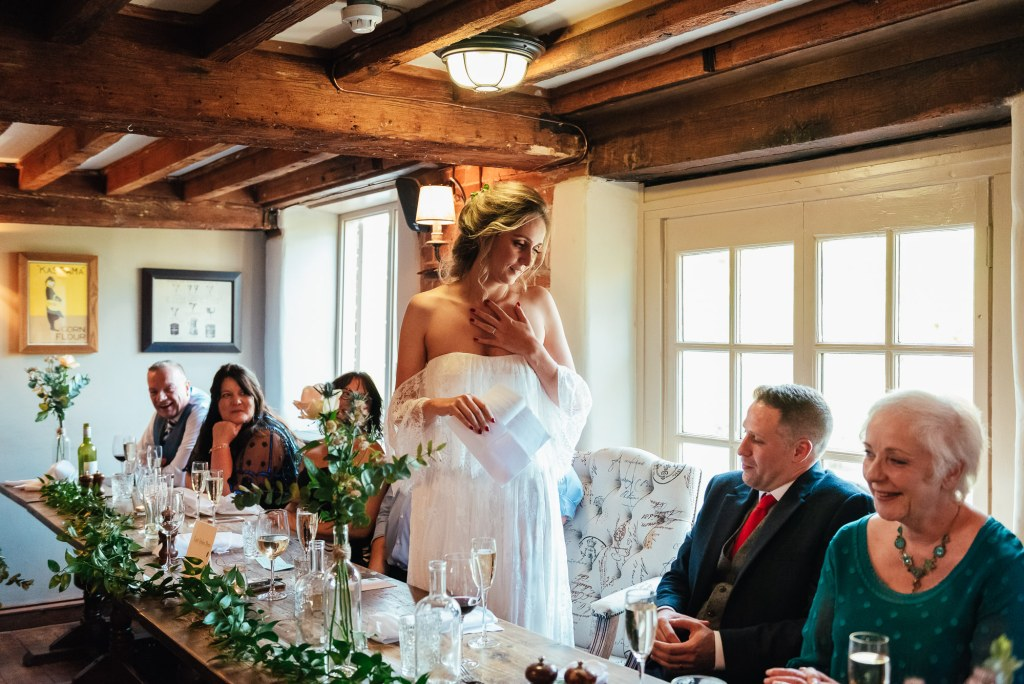 Bride gives a speech at The Mill at Elstead wedding breakfast
