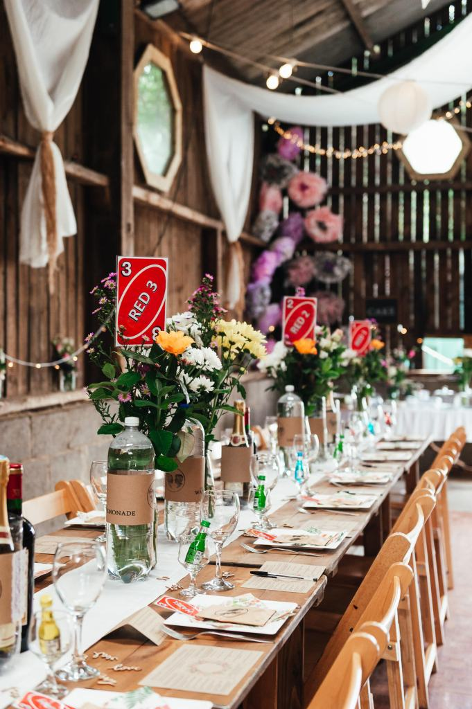 Rustic barn wedding adorned with wild flower bouquets