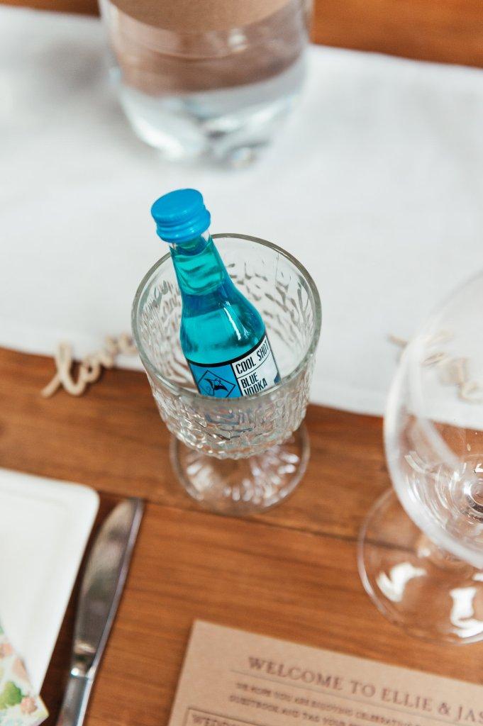 Wedding favour vodka bottles