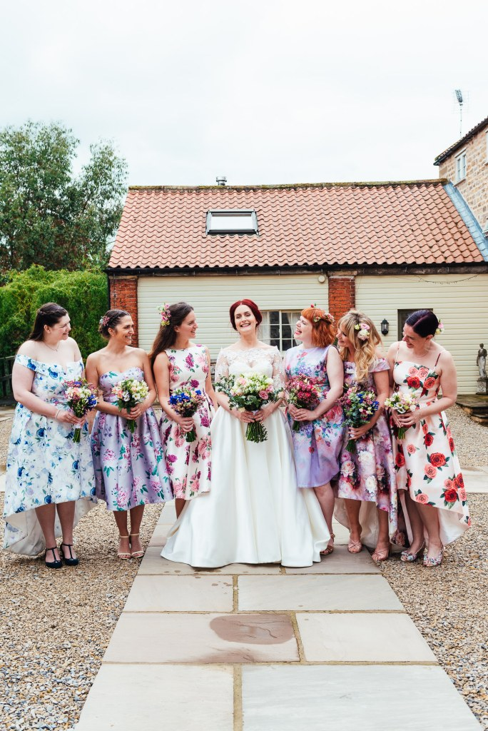 Bride with bridesmaids in miss matching ChiChi London dresses