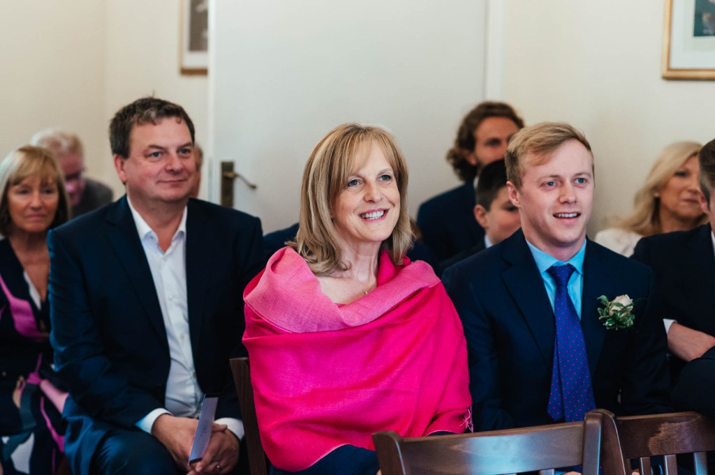 Candid guest reaction at Weybridge registry office