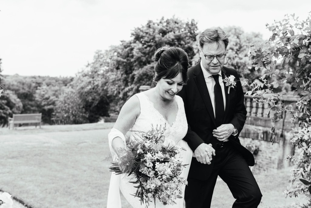 Documentary wedding photography, relaxed portrait in Oatlands Park Hotel