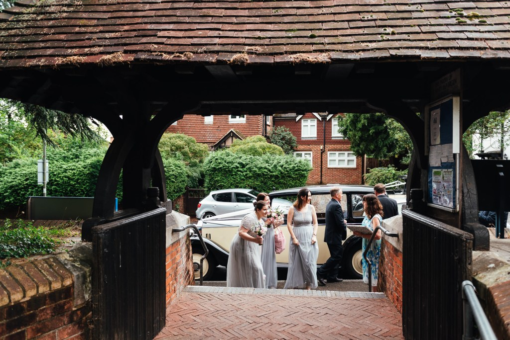 Documentary wedding photography, Surrey village hall wedding